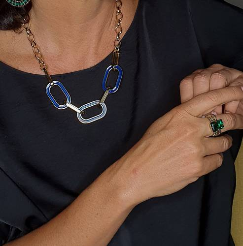 Amazing day. Chain necklace with navy elements