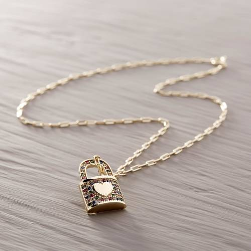 Beautiful romance. Necklace with a padlock pendant
