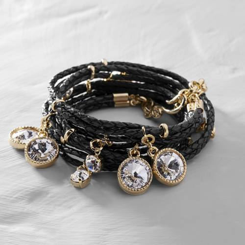Black panther. Black leather bracelet with charms