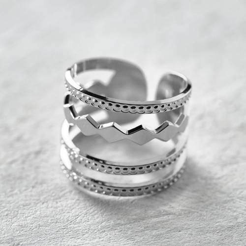 Bumpy Road. Large Silver Colored Ring