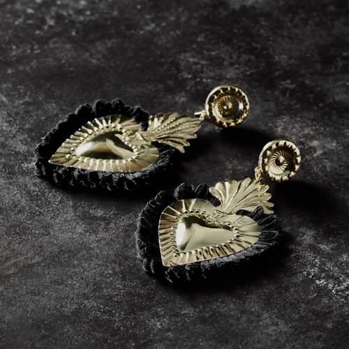 Darkness. Golden Heart Earrings with Black Feather