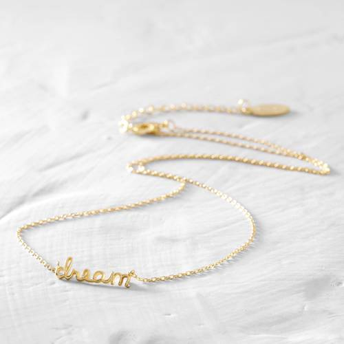Dream. Short gold-plated necklace
