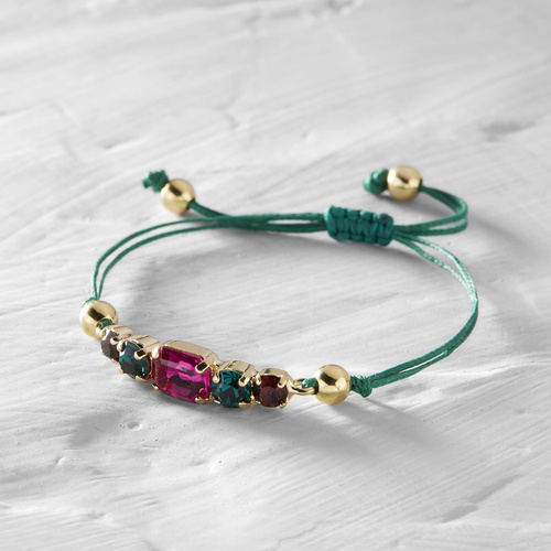 Eilat. Green strap bracelet with colorful crystals