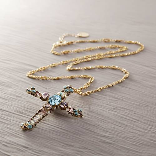 Godly. Necklace with a turquoise cross