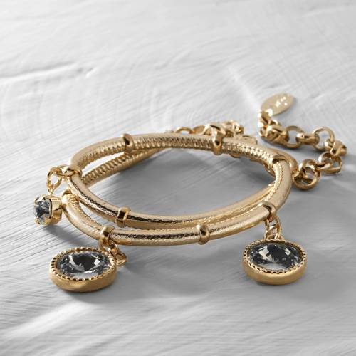Gold champagne. Leather bracelet with crystals