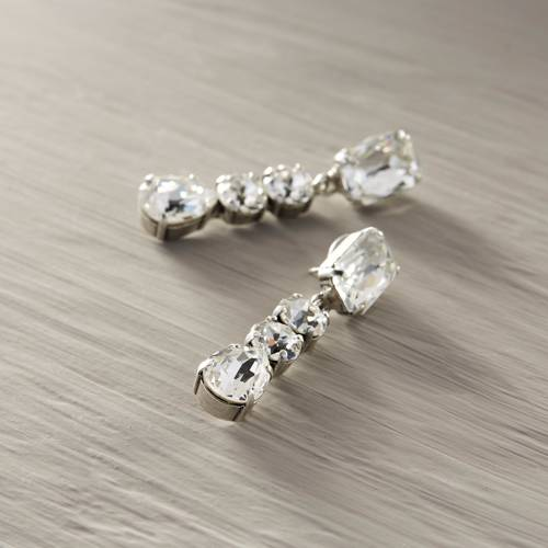 I love white. Drop earrings with crystals