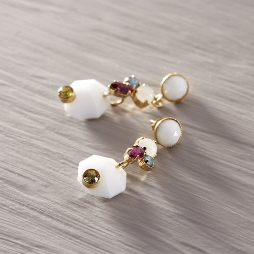 In Provance. Drop earrings with white stones