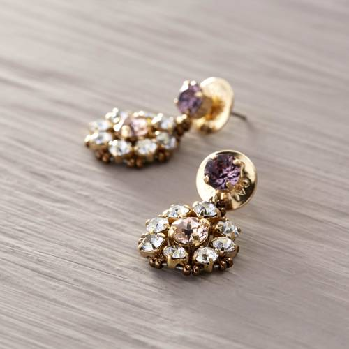 In the name of love. Drop earrings with crystals