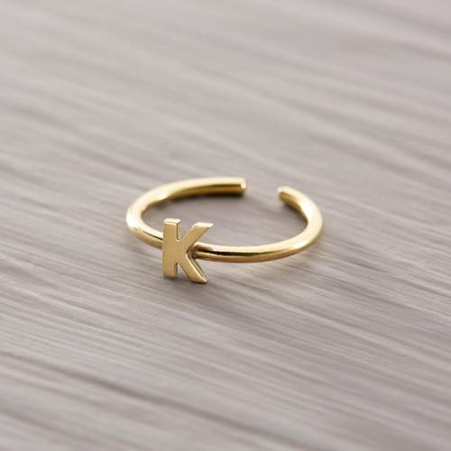 K for Kylie. Delicate ring with the letter K