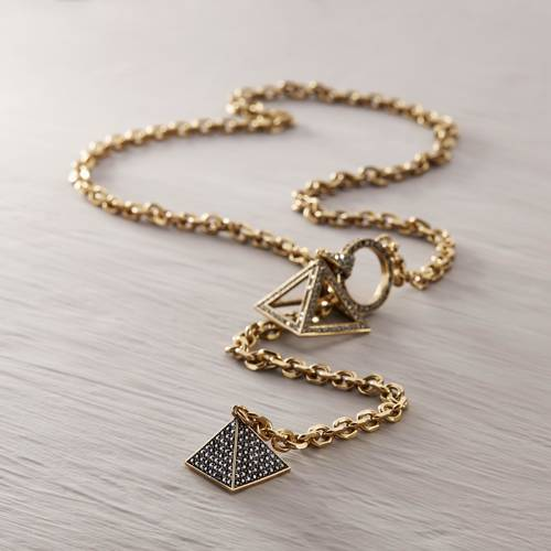 Long Rise. Long necklace with crystal pyramids