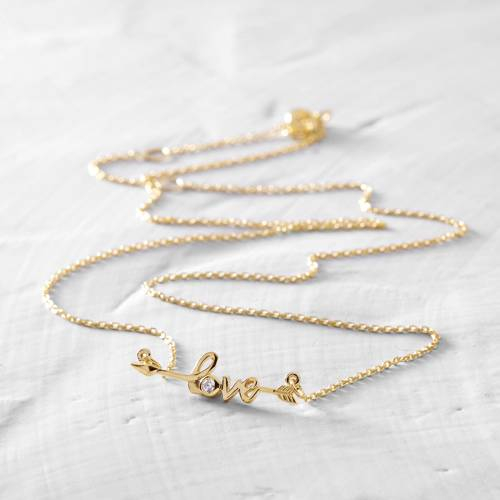 Love. Short, gold-plated necklace with letters