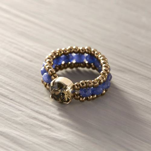 Niloufar. Blue beads ring with crystal