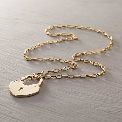 Open up your heart. Necklace with a padlock pendant