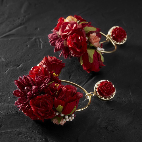 Out of love. Flower drop earrings in red