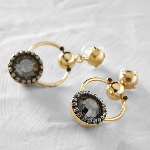 Pavillon Ledoyen. Grey crystal drop earrings