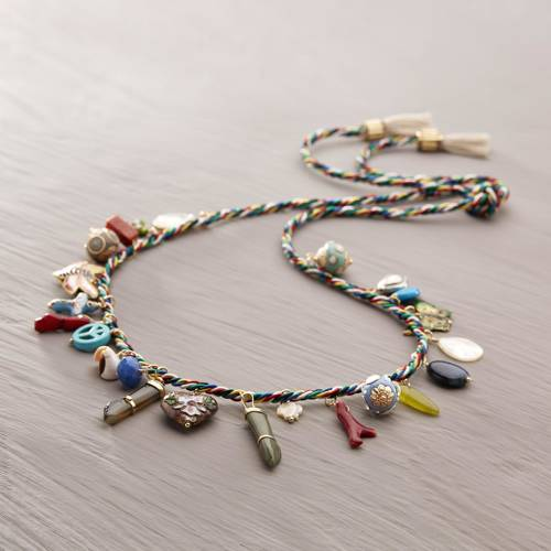 Playfulness. Silken necklace with colorful charms