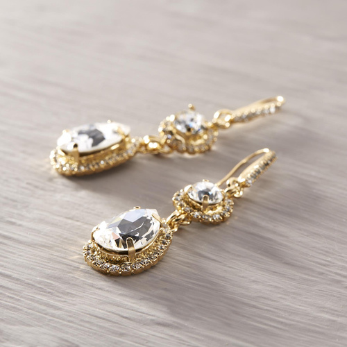 Princessa. Gold plated earrings with white crystals