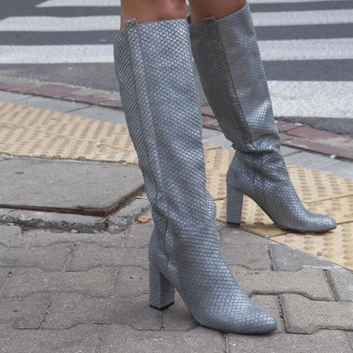 Python. Knee high leather boots