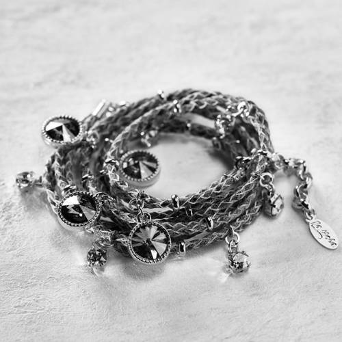 Remember me. Grey leather bracelet