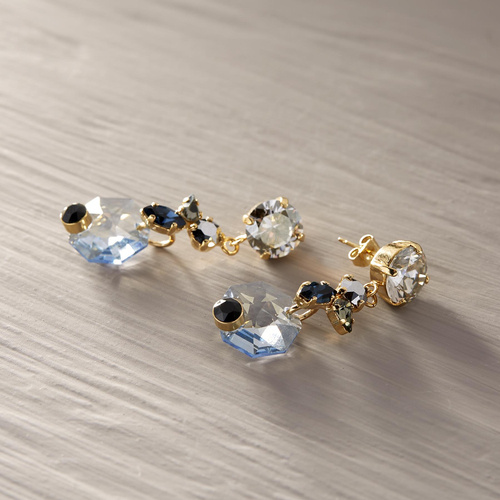 Shades of blue. Drop earrings with crystals