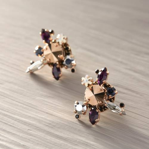 Stories of faraway lands. Rose gold earrings with crystals