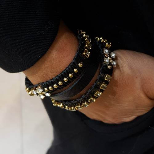 Strangers in the night. Leather bracelet with crystals and pearls