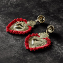 Rose. Golden Heart Earrings with Red Feather